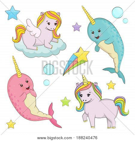A set of cute magic fairy tale creatures illustrations. Unicorn with rainbow hair pegasus on the cloud narwhal unicorn whale fishes. Holiday and event decorations design elements.