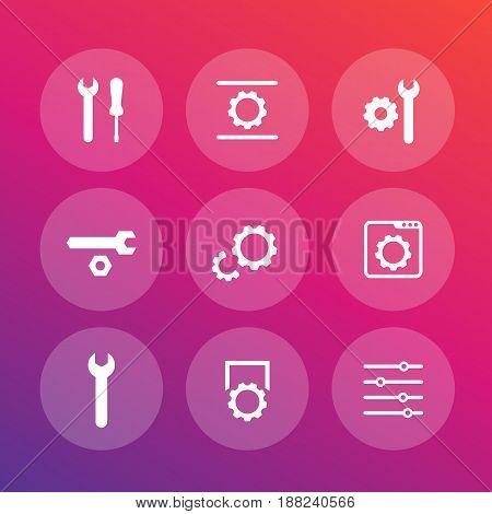 settings, configuration, development icons set, 9 vector pictograms