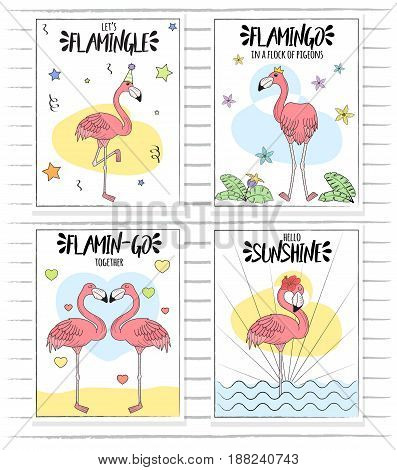 Doodle hand drawn set of card poster illustrations, pink rose elegant slim flamingo in various poses, tropical jungle plants and flowers.