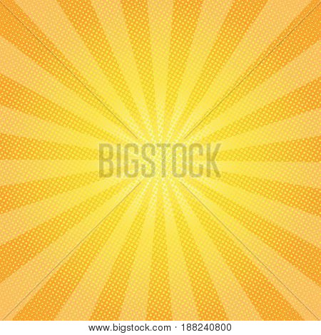 Sun Rays Background With Circles, Vector Illustration