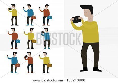 Smart Phone Man Cartoon Character, Office worker collection set.