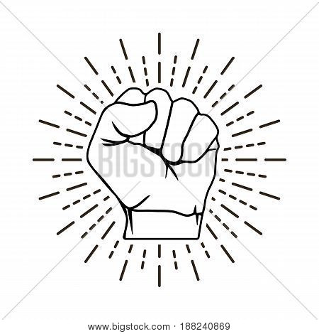 Hand Is Clenched Into A Fist With A Sun Rays, Line Design