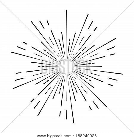 Sun Rays Black Colored On A White Background