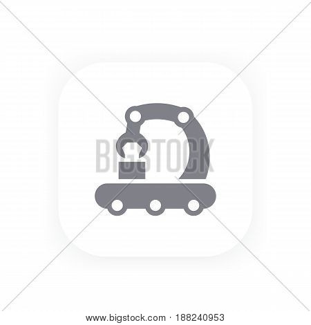 conveyor line icon, production, manufacturing vector pictogram, eps 10 file, easy to edit