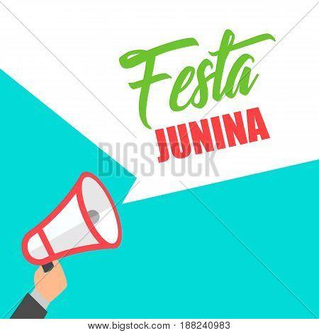 Megaphone In Hand Announcement Festa Junina Brazil Festival