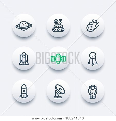 Space icons set in line style, planet with asteroid belt, comet, astronaut, satellite, space probe, shuttle, radio telescope