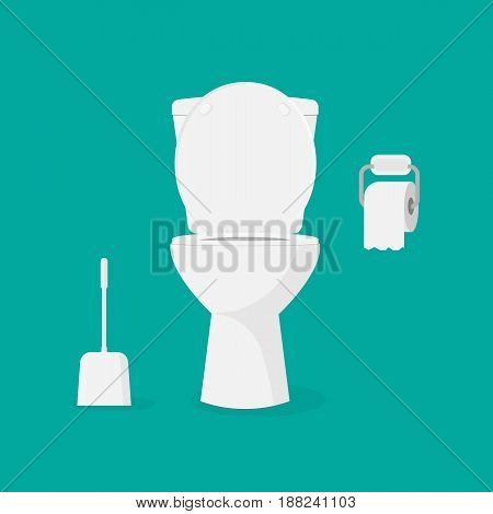Toilet bowl toilet paper and brush for toilet bowl. Modern toilet set in flat style. Isolated on background. Vector illustration eps 10