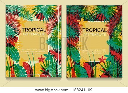 Tropical offset print effect jungle templates with overlayed plants and flowers making anaglyph effect. Replace text to customize template.
