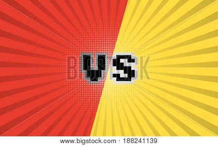 Versus letters fight background. Comic book versus template background. Vector illustration. Eps 10