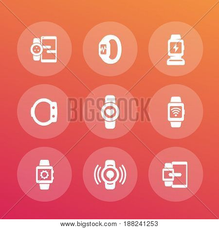 smart watch icons set, wearable devices, data synchronization between gadgets, charging station, fitness and health trackers