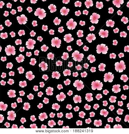 Pink Flower Seamless Pattern Isolated on Black Background
