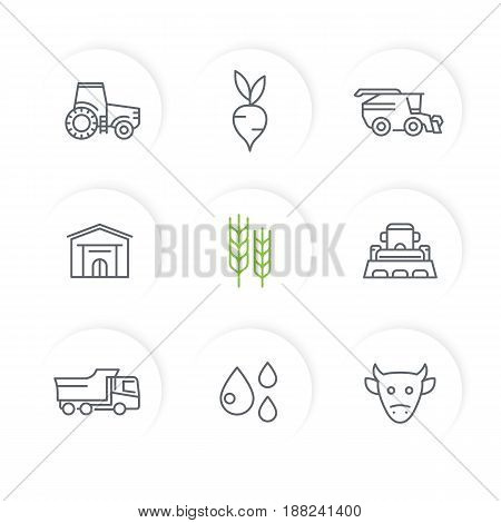 Agriculture, farming line icons set, tractor, agrimotor, harvester, cattle, agricultural machinery, storehouse
