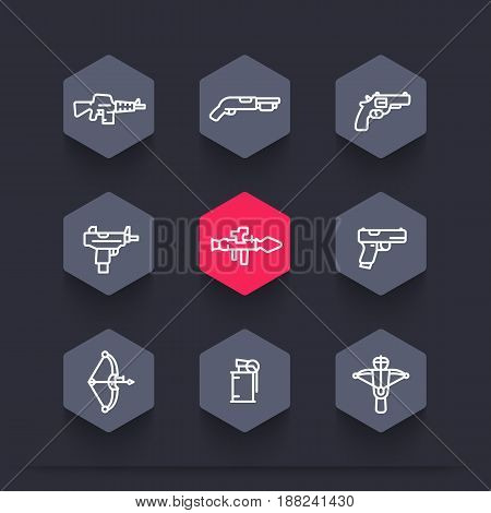 weapons icons set in linear style, rocket launcher, pistol, submachine gun, assault rifle, revolver, shotgun, grenade