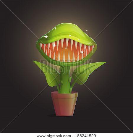 Venus flytrap flower carnivorous plant illustration. Wild deadly hungry plant in pot on dark background.