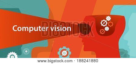 computer vision technology vector illustration digital image recognition