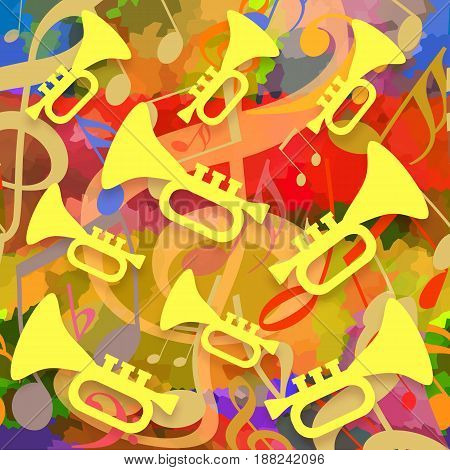 Bright colorful music background with dancing trumpets