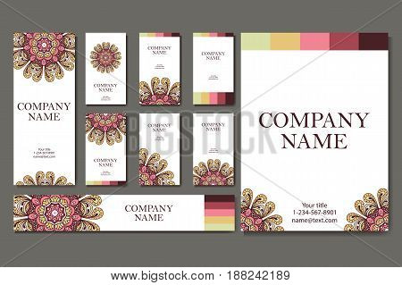 Set of business cards. Vintage pattern in retro style with mandala. Hand drawn Islam, Arabic, Indian, lace pattern.