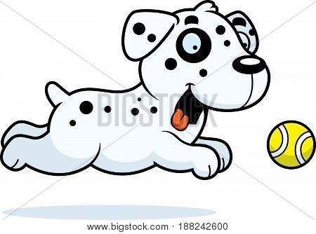 Cartoon Dalmatian Chasing Ball