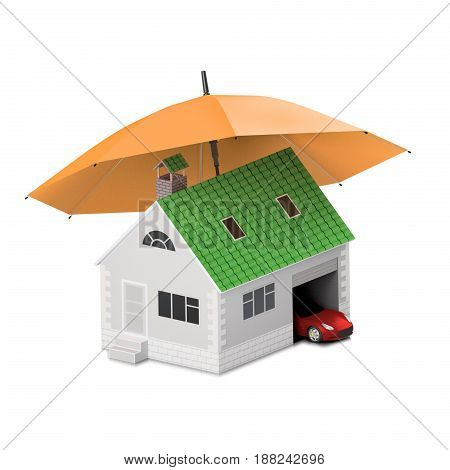 Insurance home house life car protection. Buying house and car for family icon. Protect people Concepts. 3D illustration. Icon for the web site of the bank. Red car under orange umbrella.