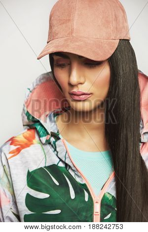 Sensual Thoughtful Young Woman In Casual Clothes