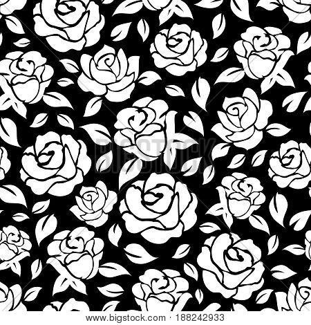 Hand drawn roses seamless pattern on black backdrop. Vector illustration