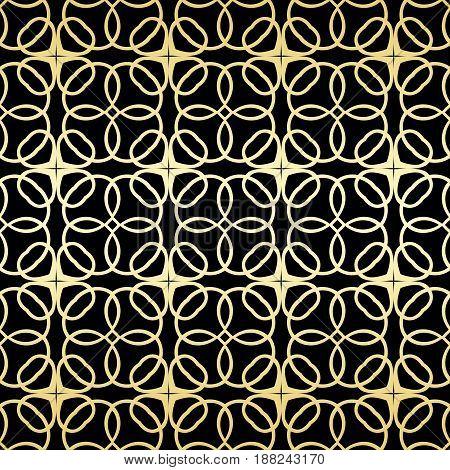 Ornamental Wallpaper, Vector Luxury Background. Vintage Floral Pattern On Black With Golden Gradient