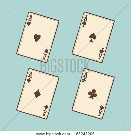 Black jack cards collection on blue background. Vector four aces vintage style