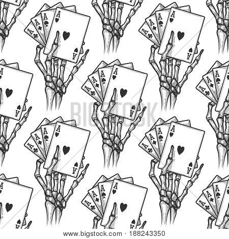 Hand drawn black jack bones seamless pattern. Vector four aces texture