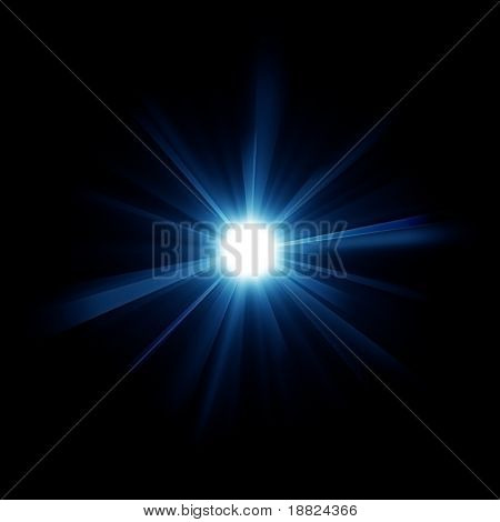Blue burstiong star isolated in black space