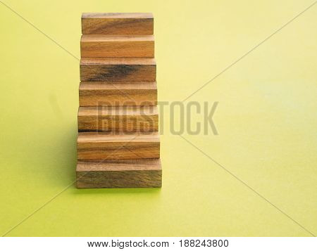 Stair case was build by wooden block
