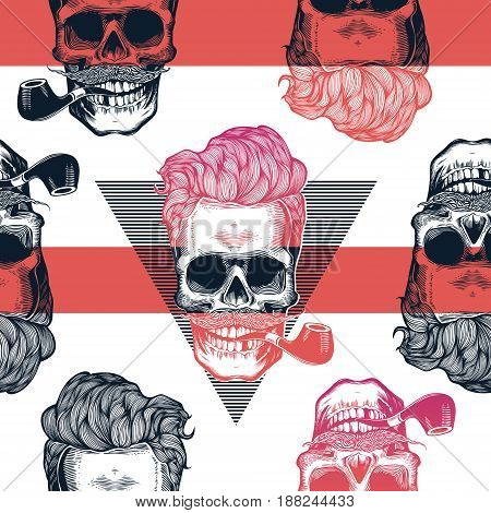 Kitschy seamless pattern. Human skulls with hipster hairstyle and smoking pipe drawn in engraving style against red horizontal stripes and black triangles on background. Vector illustration.