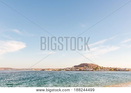 A late afternoon view across the bay to Saldanha Bay a town in the Western Cape Province