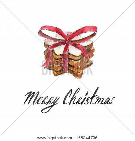 The cookies stack with red ribbon bow isolated on white background and lettering