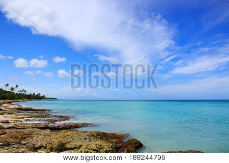 Beautiful caribbean sea and blue sky .Sommer ocean landscape as background.Caribbean sea and rock stones.