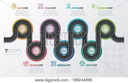 Navigation map infographic 7 steps timeline concept. Winding road. Vector illustration.