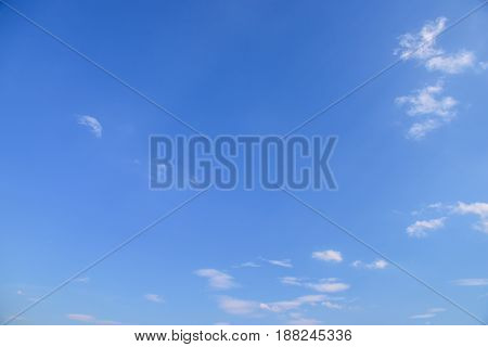 Blue sky with white clouds. Looking up view