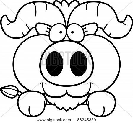 Cartoon Little Ox Peeking