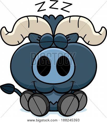 Cartoon Little Blue Ox Napping