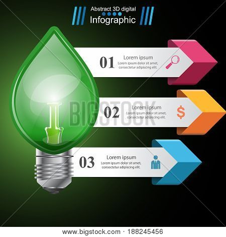Eco bulb logo. Business infographic. Marketing icon