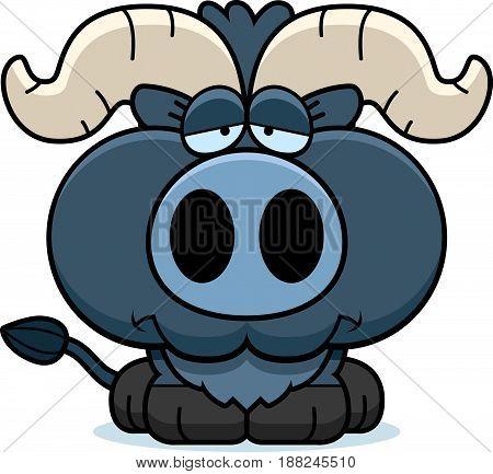 Cartoon Sad Little Blue Ox