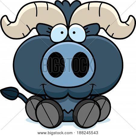 Cartoon Little Blue Ox Sitting