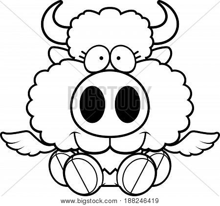 Cartoon Buffalo Wings Sitting