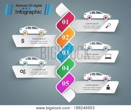 Abstract 3D digital illustration Infographic. Car icon