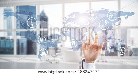 Hand of woman touching icon of media screen with medicine concept