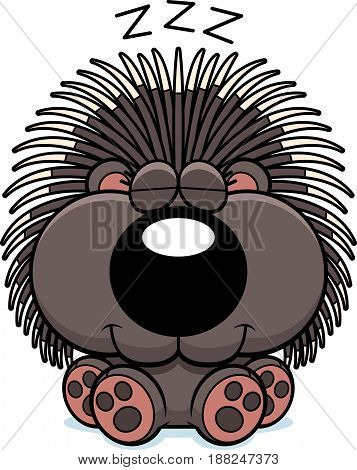 Cartoon Porcupine Napping