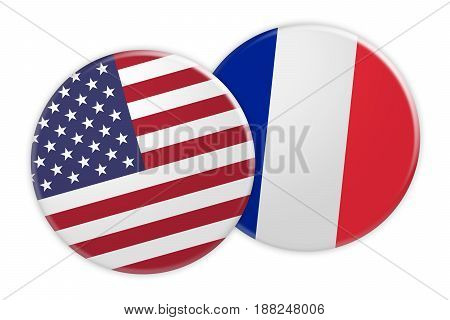 US News Concept: USA Flag Button On France Flag Button 3d illustration on white background