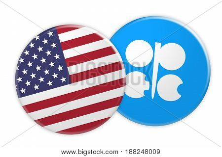 US News Concept: USA Flag Button On OPEC Flag Button 3d illustration on white background