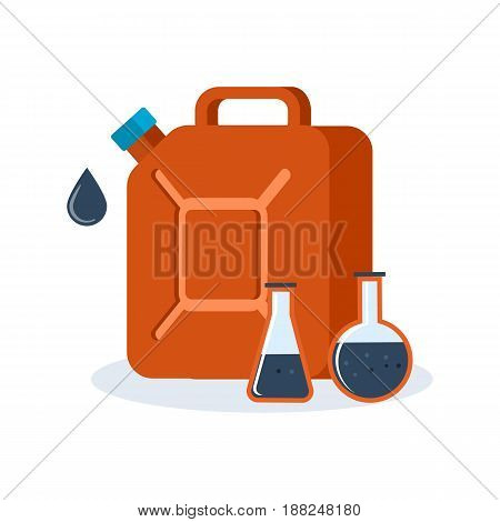 Objects of oil industry. Red container for fuel filled with gasoline, an oil product. Modern vector illustration isolated on white background.