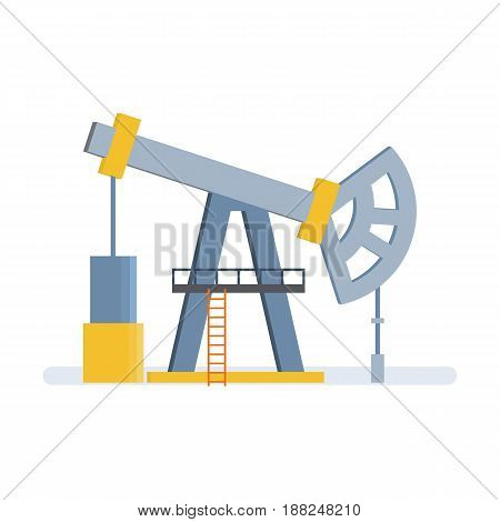 Objects of oil industry. Drilling rig. Oil crane for oil production, with a pump and a lift, storage of resources in tanks. Modern vector illustration isolated on white background.