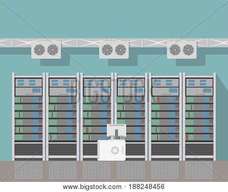 Interior of the room with servers and cooling system. Vector illustration